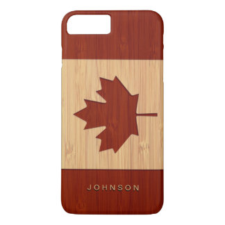 Hoja de arce grabada mirada de bambú de la bandera funda para iPhone 8 plus/7 plus