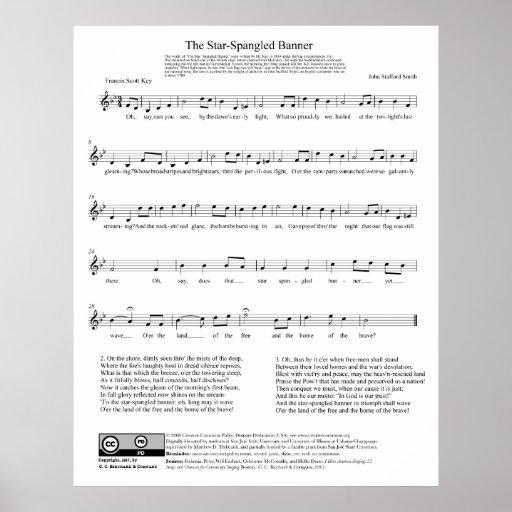 Hoja de música del himno nacional del himno americ poster