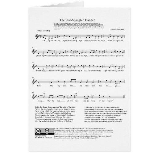 Hoja de música del himno nacional del himno americ felicitación