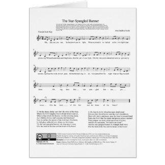 Hoja de música del himno nacional del himno americ tarjeta de felicitación