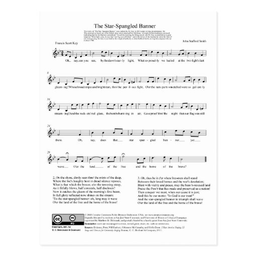 Hoja de música del himno nacional del himno americ postales