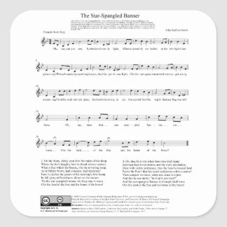 Hoja de música del himno nacional del himno pegatina cuadrada