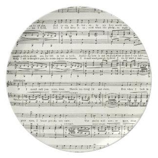 Hoja de música del vintage, notas musicales plato para fiesta