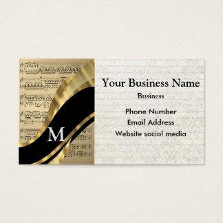 Hoja de música negra con monograma de los músicos tarjeta de negocios
