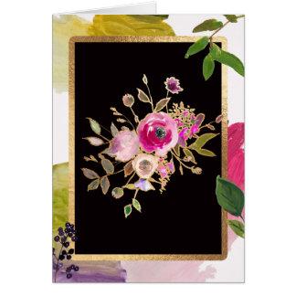 Hoja de oro, ramo floral, tarjeta de felicitación