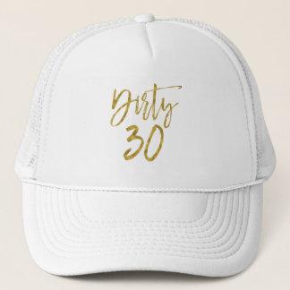Hoja de oro sucia de 30 cumpleaños y gorra blanco