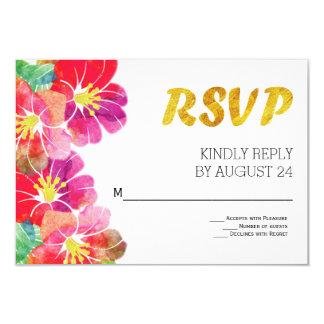 Hoja de oro tropical de las flores de la acuarela invitación 8,9 x 12,7 cm