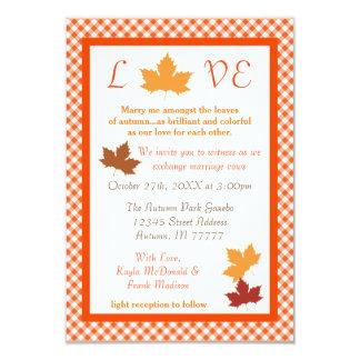 Hoja del amor del otoño - invitación del boda 3x5