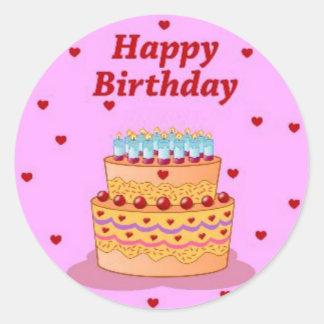 Hoja del feliz cumpleaños de 20 pegatinas redondos pegatina redonda