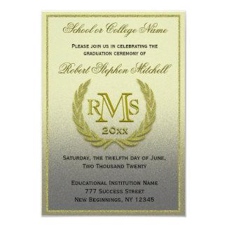 Hoja del laurel del oro de la graduación invitación 8,9 x 12,7 cm