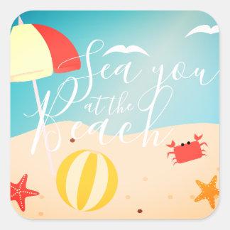 Hoja del pegatina de la playa