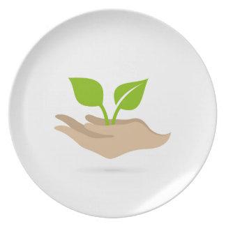 Hoja en manos plato