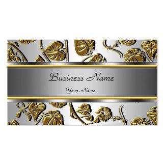 Hoja floral grabada en relieve plata con clase ele plantilla de tarjeta personal