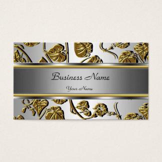 Hoja floral grabada en relieve plata con clase tarjeta de negocios
