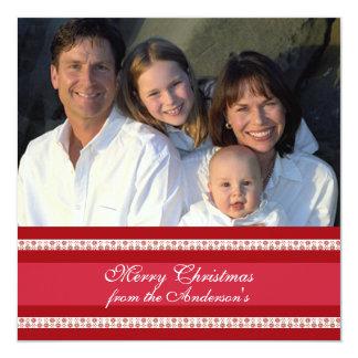 Hoja informativa en tarjeta de Navidad roja Invitación 13,3 Cm X 13,3cm