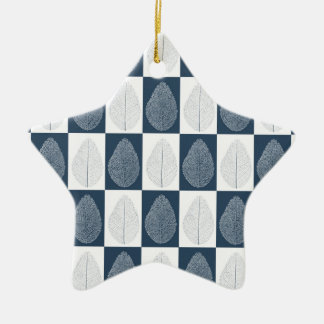 Hoja mágica en azul adorno de cerámica