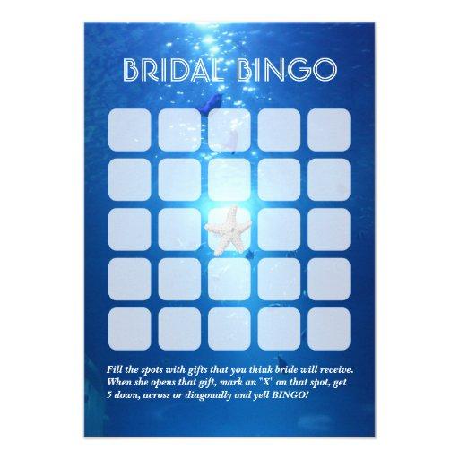 Hoja nupcial subacuática del bingo del tema 5x5 de anuncio personalizado