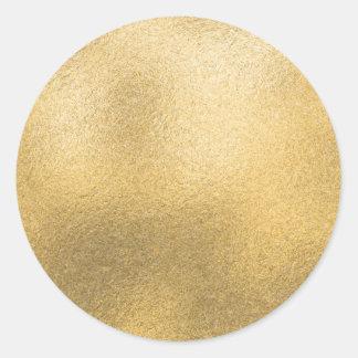 Hoja texturizada de la plantilla en blanco del oro pegatina redonda