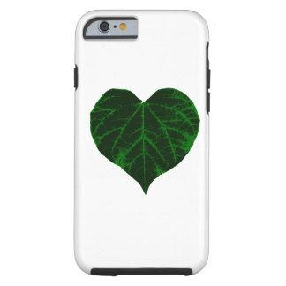 Hoja verde del corazón funda de iPhone 6 tough