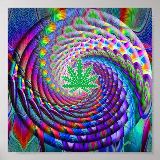 Hoja verde espiral del arco iris póster