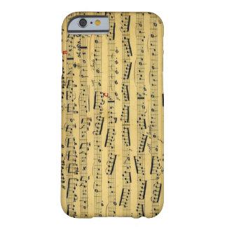 Hoja vieja Musice - caso del vintage del iPhone 6 Funda Para iPhone 6 Barely There