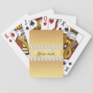 Hoja y diamantes elegantes del brillo del oro baraja de cartas