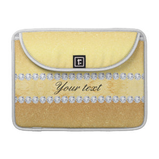 Hoja y diamantes elegantes del brillo del oro funda para macbook pro