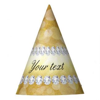 Hoja y diamantes hermosos de Bokeh del oro Gorro De Fiesta