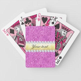 Hoja y diamantes púrpuras de oro de las baraja de cartas bicycle