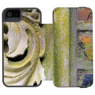 Hojas cubiertas de musgo de la piedra funda cartera para iPhone 5 watson