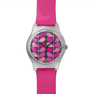 Hojas danesas de los mediados de siglo, rosado relojes
