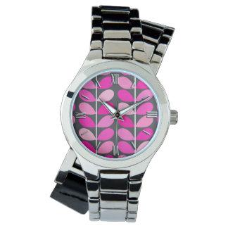Hojas danesas de los mediados de siglo, rosado relojes de mano