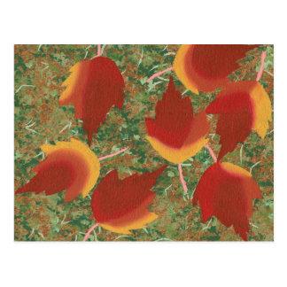 Hojas de arce abstractas del otoño en las postales