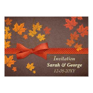 hojas de arce, invitación del boda del otoño