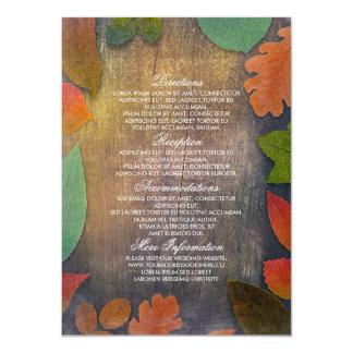Hojas de la caída e información de madera rústica invitación 11,4 x 15,8 cm