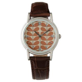 Hojas de los mediados de siglo, moho Brown y beige Relojes De Pulsera
