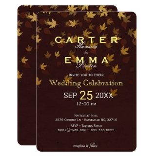 Hojas de oro del otoño elegante que casan la invitación 12,7 x 17,8 cm