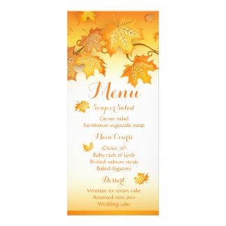 Hojas de otoño anaranjadas del menú del boda de la