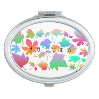 Hojas de otoño coloridas espejo compacto