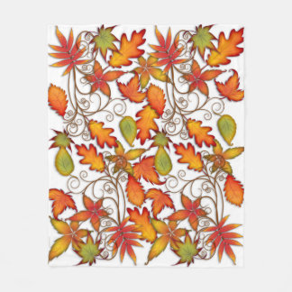 Hojas de otoño coloridas manta polar
