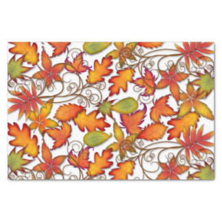 Hojas de otoño coloridas papel de seda