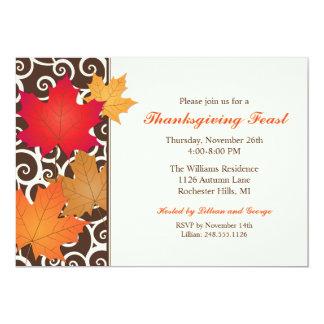 Hojas de otoño de las invitaciones el | del invitación 12,7 x 17,8 cm