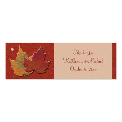 Hojas de otoño que casan etiquetas del favor plantilla de tarjeta personal