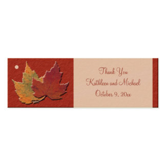 Hojas de otoño que casan etiquetas del favor tarjetas de visita mini
