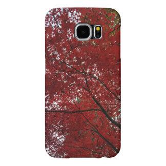 Hojas de otoño rojo marrón de la temporada de funda samsung galaxy s6