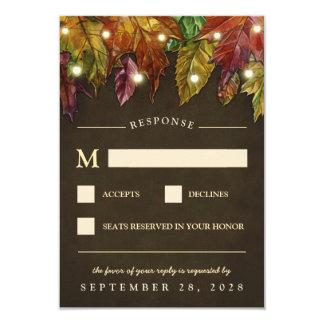 Hojas de otoño rústicas de la caída que casan las invitación 8,9 x 12,7 cm