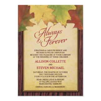 Hojas de otoño rústicas que casan la invitación invitación 12,7 x 17,8 cm