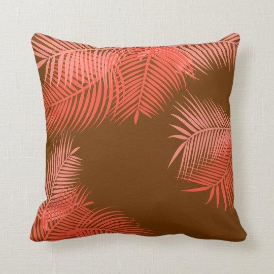 Hojas de palma coralinas cojín decorativo