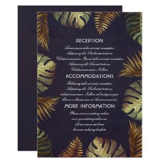 Hojas de palma de la playa que casan la tarjeta de invitación 11,4 x 15,8 cm