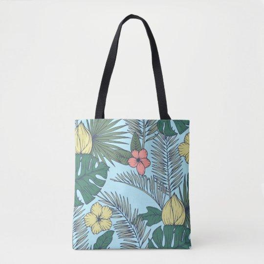 Hojas de palma del vintage y flores tropicales bolso de tela